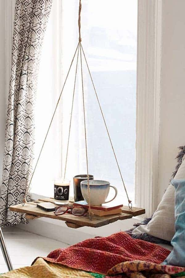 #10 SALVAGED WOOD USED TO CONSTRUCT AN AIRY FLOATING NIGHTSTAND