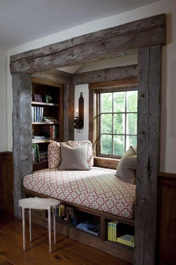 SPLENDID WINDOW SEAT BORDERED BY WOODEN BEAMS