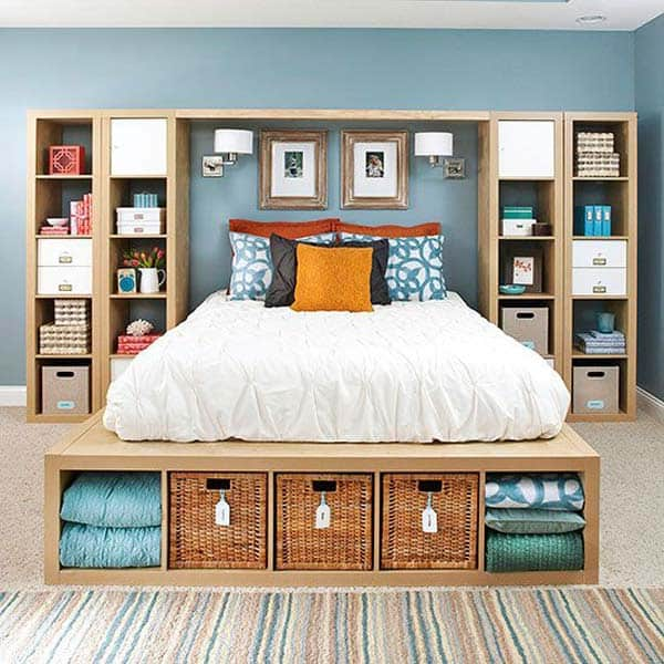 CREATE EFFICIENT BEDROOM STORAGE IN A GRAPHIC NATURAL MANNER
