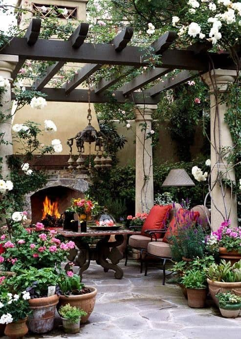 pergola with columns and wood beautiful design ideas