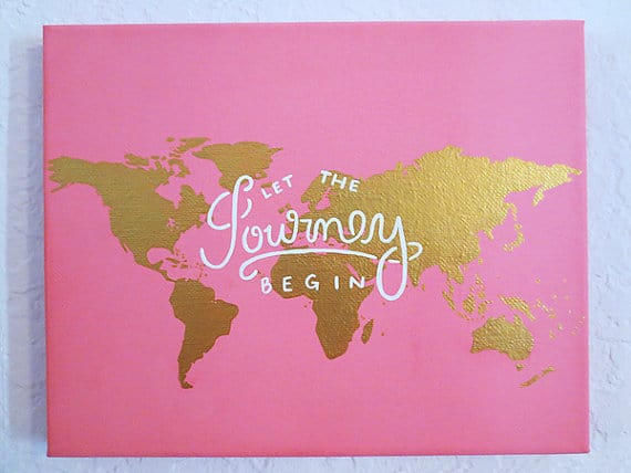 7. LET THE JOURNEY BEGIN PINK AND GOLD CANVAS PAINTING IDEA