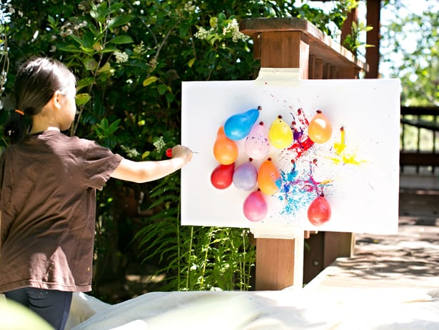 1. HAVE FUN WITH PAINT FILLED BALLOON DART ART