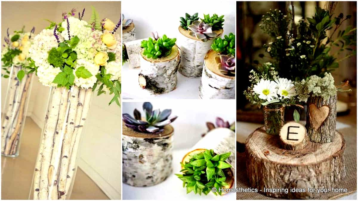 1 24 Beautiful Decorative Wooden Stump Vases Crafts For Your Household