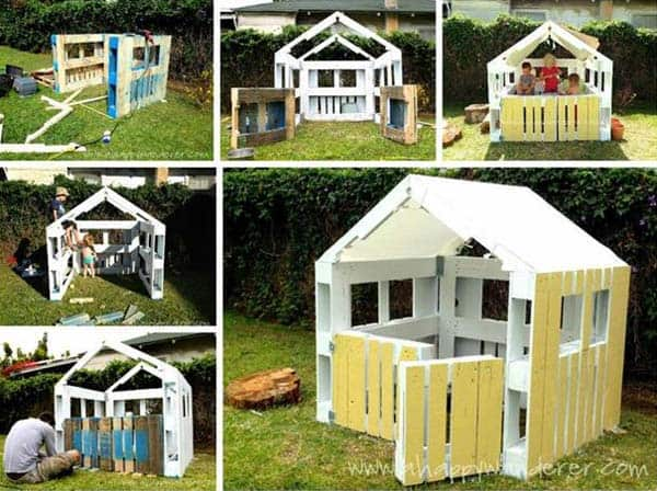 USE SIMPLE WOODEN PALLETS AND COLORS TO CREATE A MULTIPURPOSEPLAYHOUSE