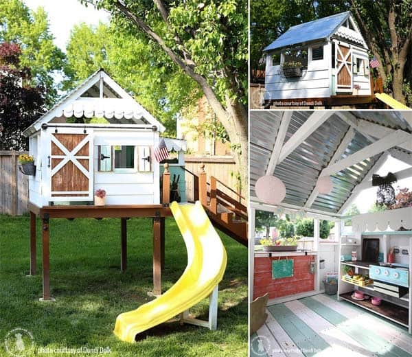16 creative kids wooden playhouses designs for your yard for Playhouse with porch plans