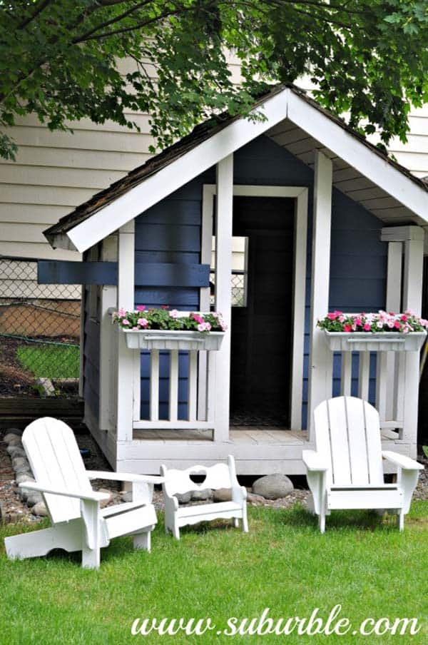 BLUE AND WHITE PLAY-HOME WITH ITS OWN PORCH