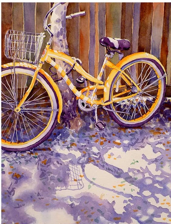 #7 ENVISION CREATING A MASTERPIECE JUST BY USING YELLOW AND PURPLE TO MATERIALIZE A BIKE ON PAPER