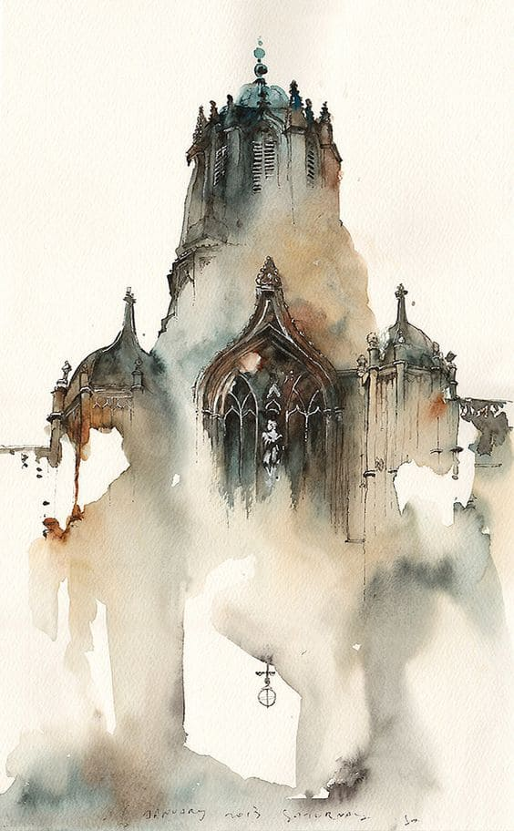 #15 UNDERSTAND THAT FOR BEGINNERS A SIMPLE SKETCH OF A DULL PAINTED CATHEDRAL CAN BE A START