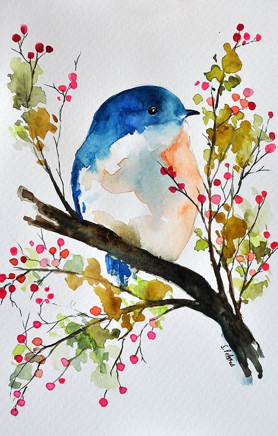 14 CONSIDER A DRAWING OF BLUE JEAN BIRD SITTING ON BRANCH LADEN WITH