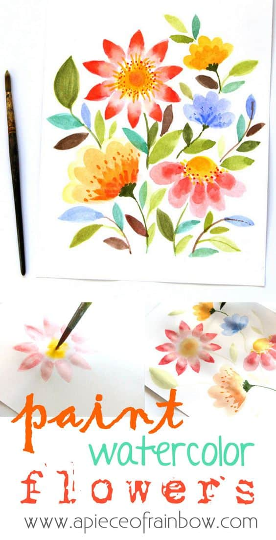 #12 USING WATER COLORS TO DISPLAY THE BEAUTY OF COLORFUL FLOWERS CAN BE MADE POSSIBLE WITH A PAINT BRUSH