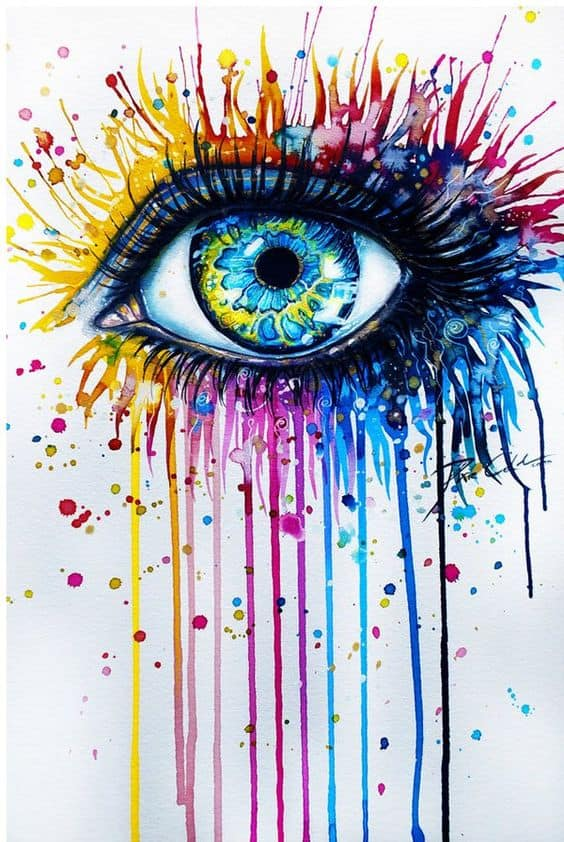 #11 IMAGINE DOING A COLLAGE OF AN EYE FILLED WITH TEARS USING A MIX OF PRIMARY AND SECONDARY COLORS