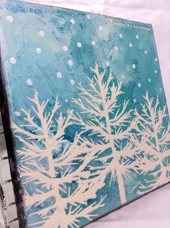 2 ENVISION A CANVAS WITH SKY BLUE BACKGROUND DEPICTING NATURE IN SNOWY WEATHER