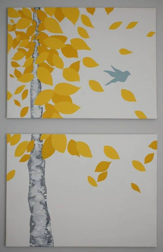 19 Easy Canvas Painting Ideas (10) #11 YELLOW LEAVES BLOWING IN THE WIND AS SEEN THROUGH A WINDOW