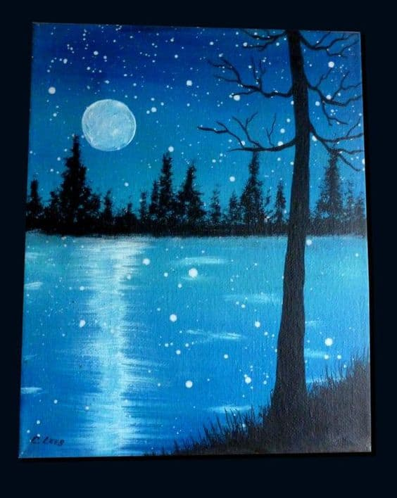 #12 CREATE A MASTERPIECE SHOWING A FULL MOON ON A STARRY NIGHT NEAR A RIVER