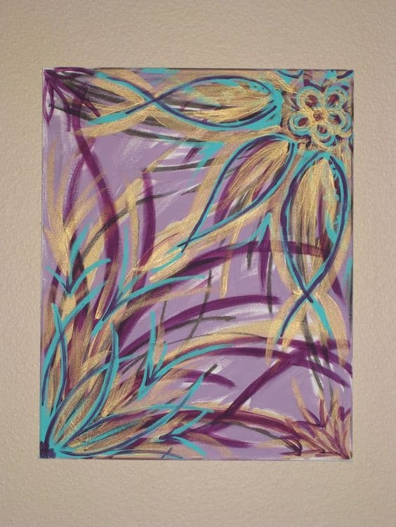 #13 IT IS POSSIBLE TO LEARN TO PAINT JUST BY SCRIBBLING RANDOM COLORS OF YELLOW PURPLE AND TURQUOISE
