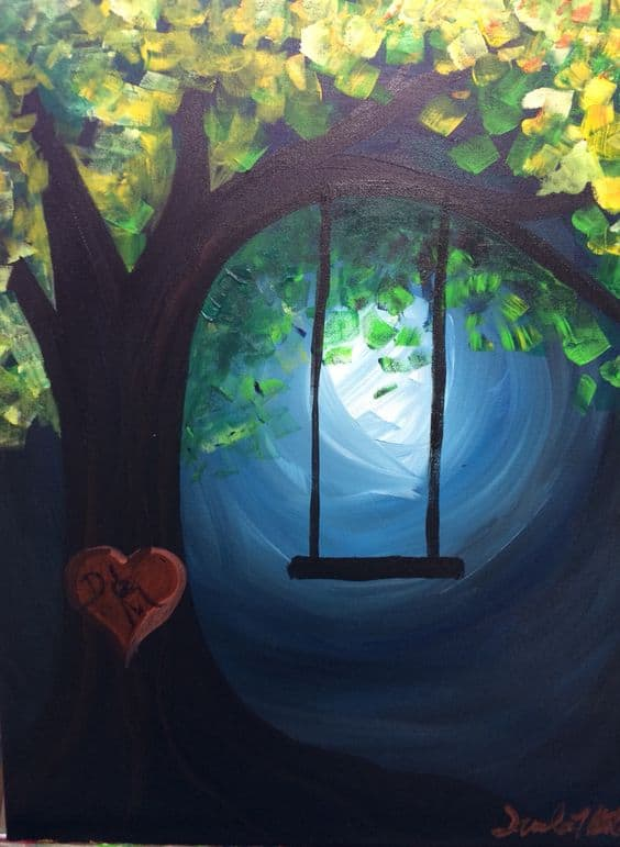 Beautiful Canvas Painting Ideas Part - 6: #14 Colors Depicting A Childhood Image Of A Swing Hanging From A Tree By  Night