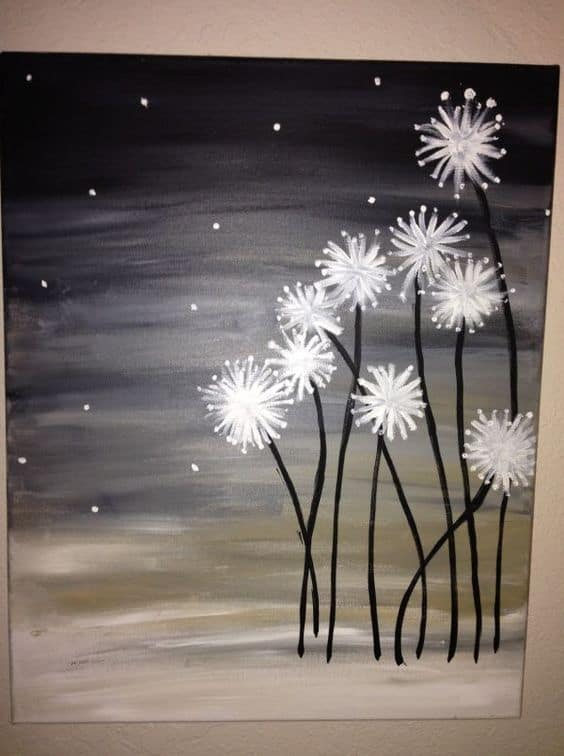 19 easy canvas painting ideas to take on homesthetics for Paint a dark picture