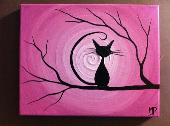 #17 INSPIRE YOURSELF TO CREATE AN IMAGE OF A BLACK CAT SITTING ON A DRY BRANCH LOOKING INTO A PINK SKY Canvas Painting Ideas (16)