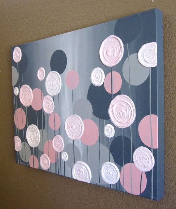 19 Easy Canvas Painting Ideas (2) #3 LEARN TO PAINT BY EXPERIMENTING WITH COLORS THAT BLEND EASILY LIKE PINK AND GREY WITH SPOTS OF WHITE IN BETWEEN