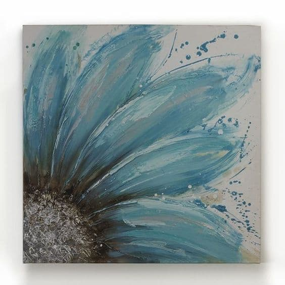 #4 CONSIDER SKETCHING A BLUE SUNFLOWER ON A GREY SHEET 19 Easy Canvas Painting Ideas (3)