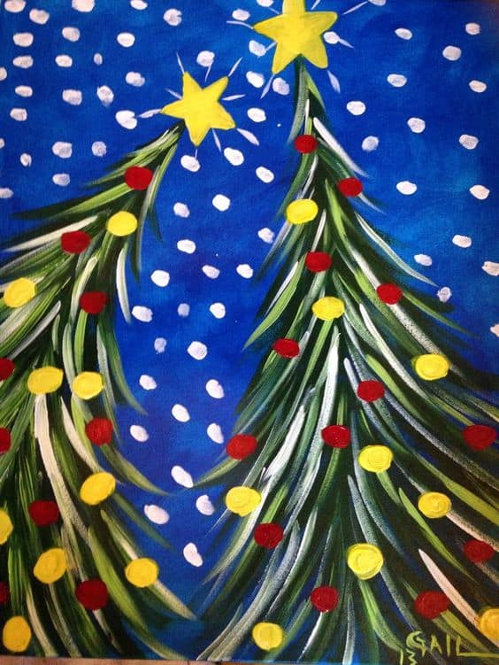 #6 ENVISION TWO CHRISTMAS TREES WITH A STAR AT THE TOP OF EACH AGAINST A BLUE SKY ON A SNOWY NIGHT