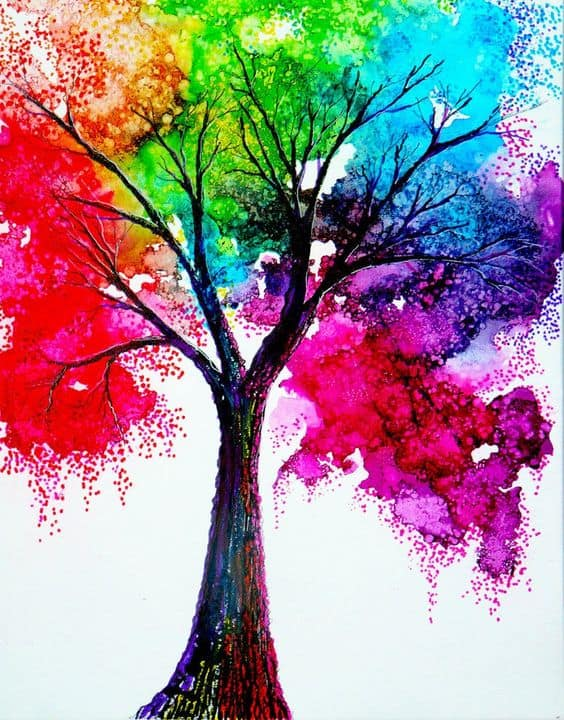 17 CREATE A TREE REFLECTING RED GREEN BLUE PINK AND PURPLE FOLIAGE