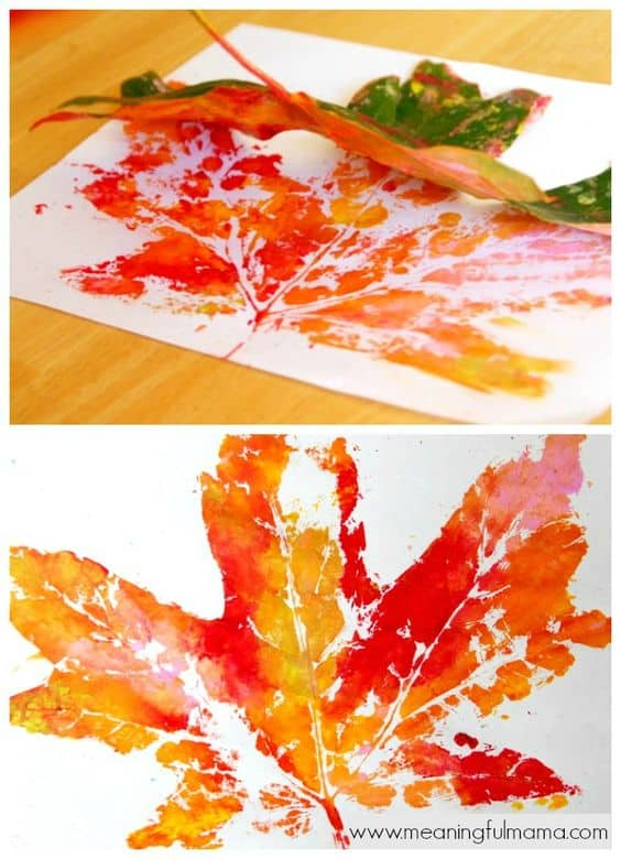 #5 CREATE A FUN CRAFT IDEA USING A FEW LEAVES WITH YELLOW AND RED HUES