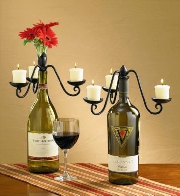 Wine bottles craft candelabras
