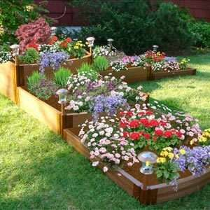 raised planter box for flower garden