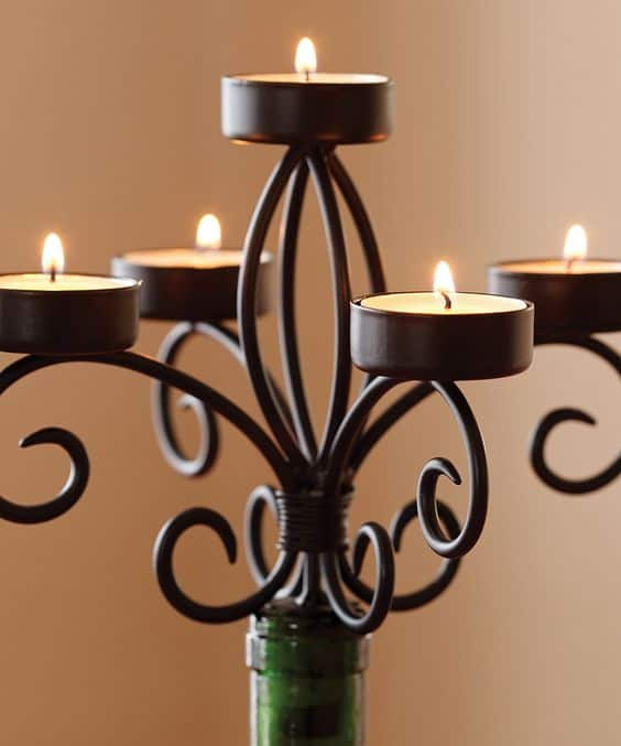 multiple candle holder wine bottle craft
