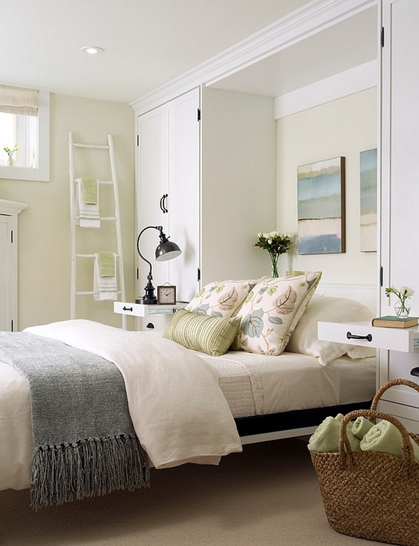 A-breezy olive green white -color-scheme-for-the-basement-bedroom