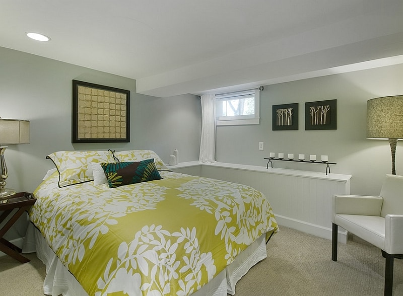 Basement-bedroom-with-a-white green design scheme