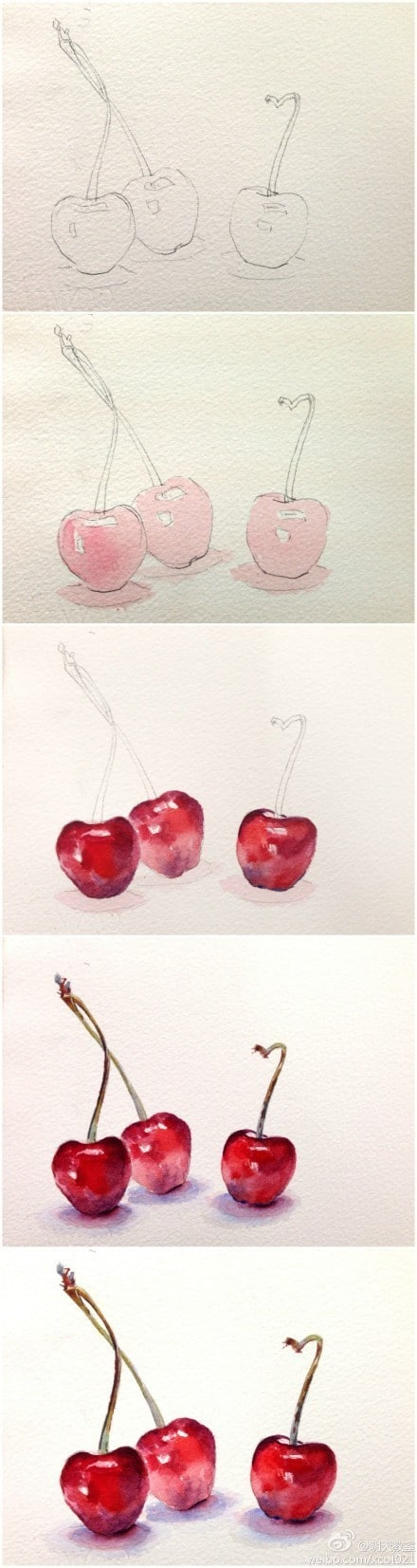 watercolor painting ideas cherry