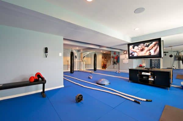 home gym above has speakers in the ceiling house to greatly enhance comfort.