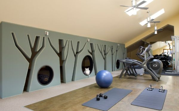 Playful Dividing Wall Allows One To Watch Over The Little Ones During The  Work Out.