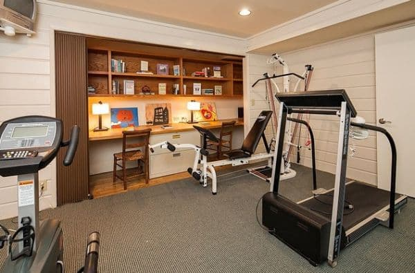 Neat Home Office Inserted Into A Closet In The Gym.