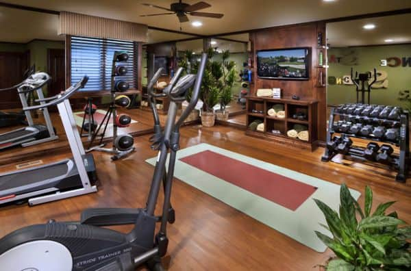 Natural elements emphasizing a exquisite home gym.