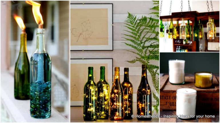Home Lighting Ideas Expressed With Wine Bottle Crafts homesthetics.net