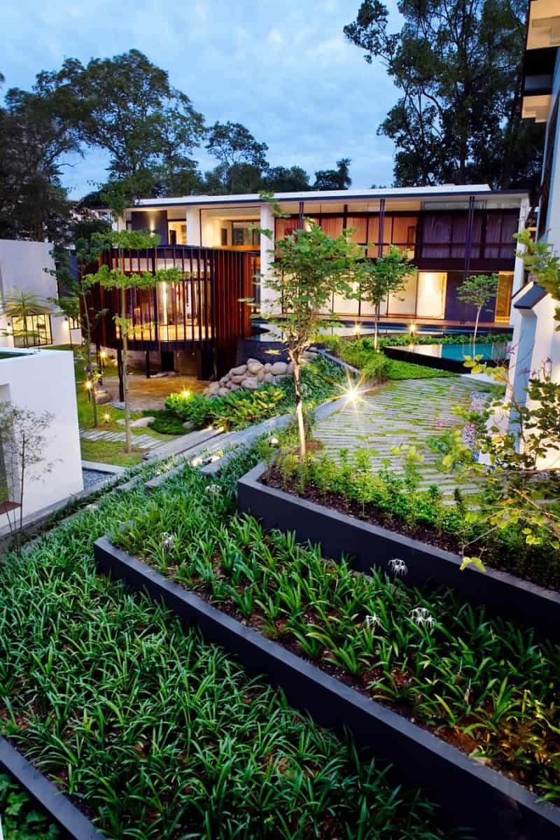 architecturally balanced backyard landscape