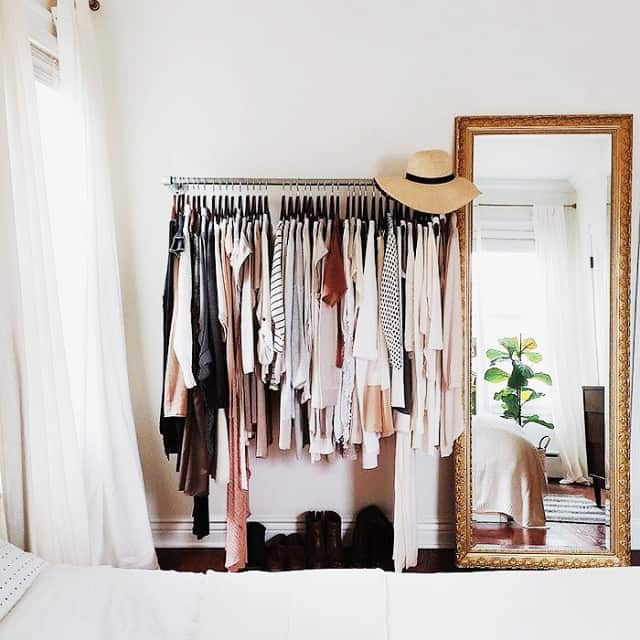 A Perfectly ARRANGED Clothing Rack And A Narrow Tall MIRROR Can Serve As A Dressing  Room