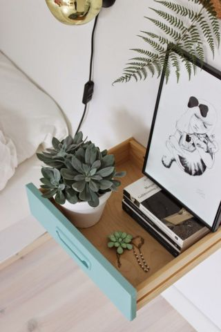 turquoise drawer turned nightstand