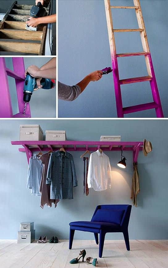 wooden ladder turned into storage