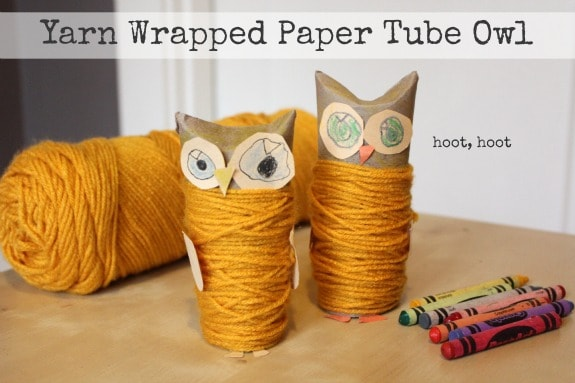 Yarn-Wrapped-Paper-Tube-Owl-Toilet Paper Roll Crafts