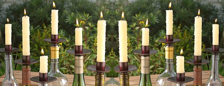 Transform empty bottles into candelabra