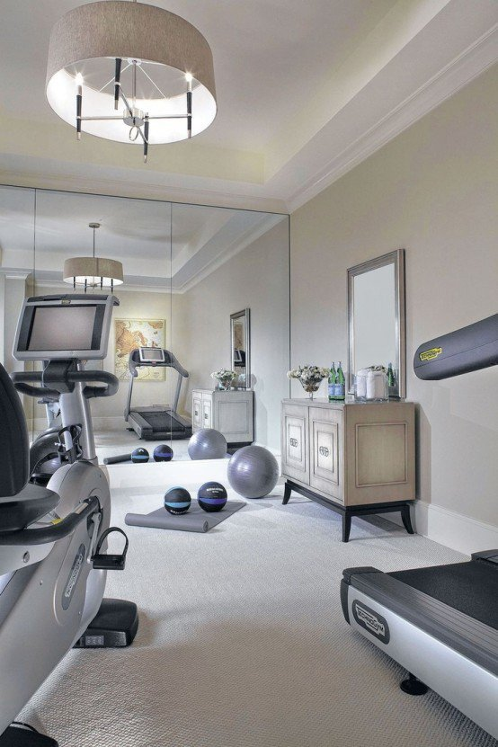 Simply stunning luxurious home gym flooded by light.
