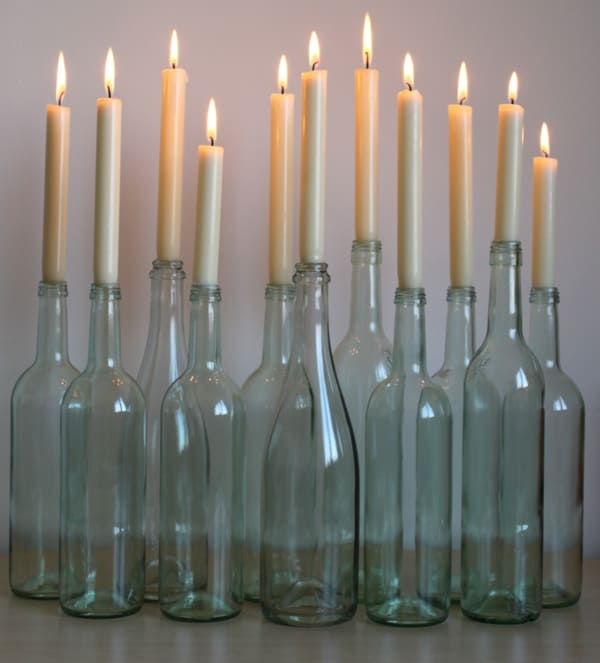 Home lighting ideas expressed with wine bottle crafts for How to make candle holders out of wine bottles