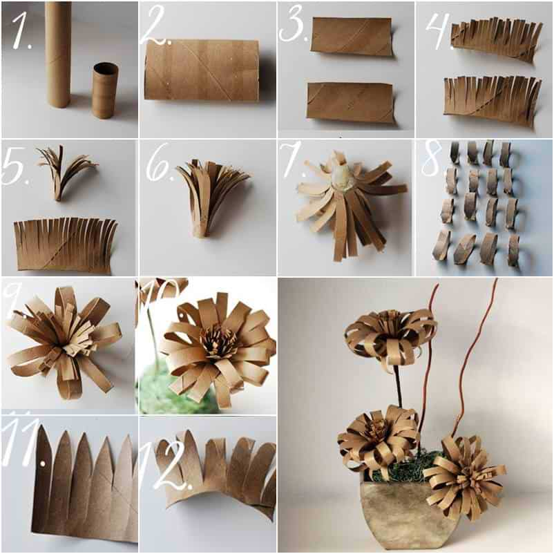 Find Utility In 21 Creative Toilet Paper Roll Crafts: toilet paper roll centerpieces