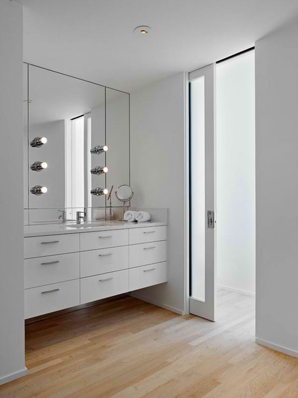 strak white bathroom can empower your bedroom design