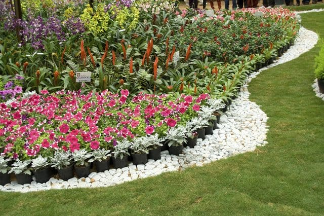 Rocks border for flower garden