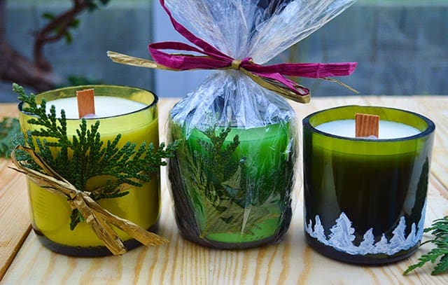 wine-bottle-candle-crafts for holidays